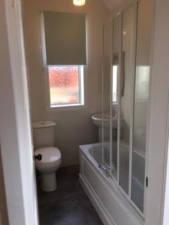 Downstairs bathroom with shower over bath