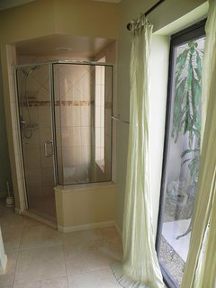 View of walk-in shower in master bath