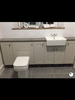 Newly fitted family bathroom with bath and over shower