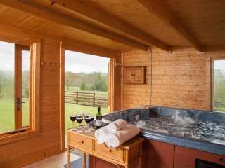 Bungalow & Barn Brecon Beacons Private Indoor Hot Tub in Log Cabin