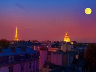 Eiffel Tower view + terrace Saint Germain des Pres