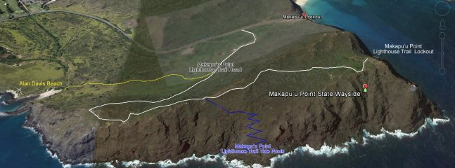 Makapuu lighthouse trail and tide pools map.