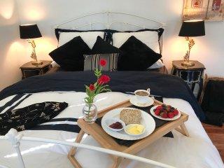 Comfy bed with Vera Wang Doona