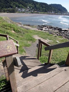 Ocean, mountain and river views abound from this convenient Yachats location .