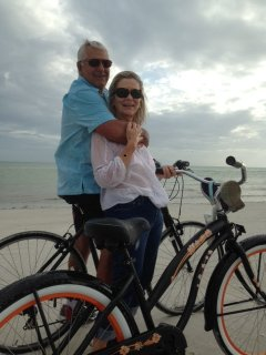 Your Host and Hostess biking on Siesta Key #1 Beach In US