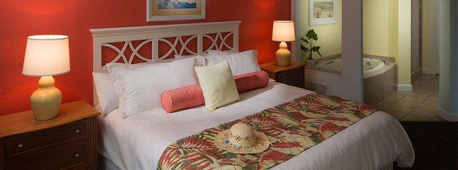 acogedor dormitorio y bañera de hidromasaje