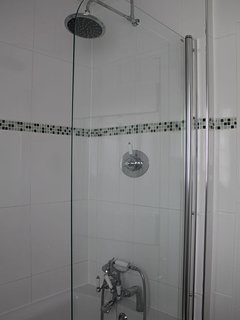 The bathroom has a separate shower over the bath