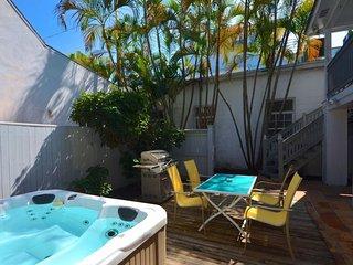 Dog-friendly home w/ private hot tub,  walk to beach!