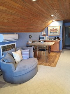 kitchenette and comfortable seating