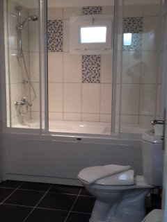 lower floor separate bathroom with bath and shower