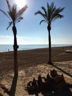Guardamar beach - 10 mins drive away - photo taken in November; people still swimming!