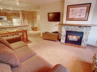 Spacious 1 Bedroom Suite with a Full Kitchen, a Balcony, + a Fireplace