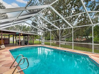 Newly furnished 3BR w/ Private Pool, Screened Patio, Dock & Canal Access