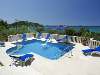 Luxury Villa Azzurro with pool by the sea at the beach on Korcula