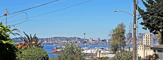 1/14: View of Space Needle and Downtown Seattle as seen from the front of the house.