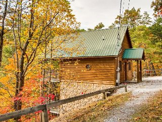 Private cabin, great for a soak in the hot tub with majestic mountain views.