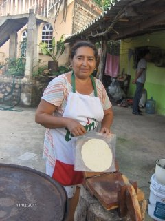 Hand made tortillas cooked on a barrel stove.