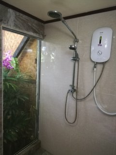 Shower with a view of private court yard.