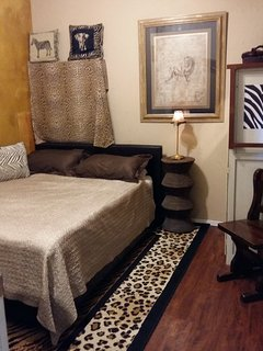 Full queen size bed in separate bedroom. Cot (single rollaway) available upon request. Max 4 people