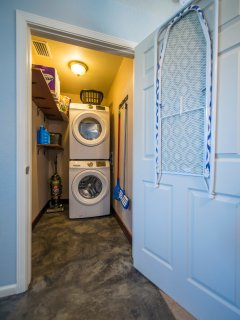 Washer, Dryer, Iron and Ironing Board.  (With Detergent)