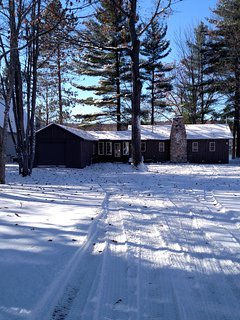 Winter view of cottage from Blue Lake Road