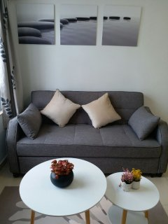 Comfy sofa with stylish coffee table