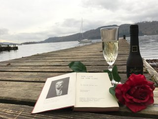 Bubbly plus Poetry on the Private Jetty