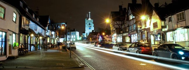 Historical High street with lots of restraunts, Coffee shops, Supermarket, Bars and pubs