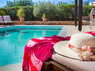 Our villa's pool terrace is spacious & peaceful, the pool itself is perfect for a refreshing swim!