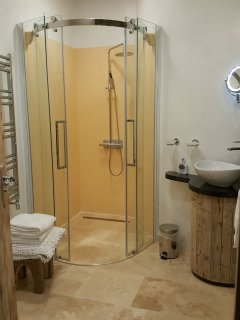 Very spacious shower room.