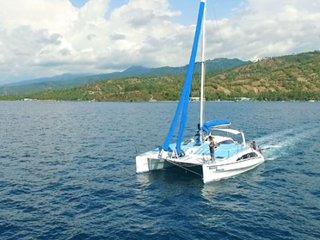 Catamaran boat rental cruise Senggigi. Lombok West Nusa Tenggara 83355