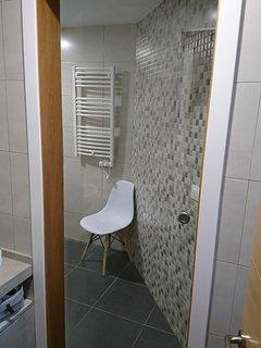 Zona independiente dentro del baño, con Plato de Ducha, videl e inodoro