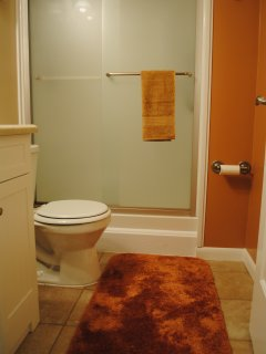 Large step in shower in the 2nd bathroom. Recently renovated