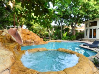 Private hot tub and rock slide!