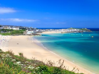 View of St.Ives from the train. Morning Cottage is close to the harbour in the old part of town