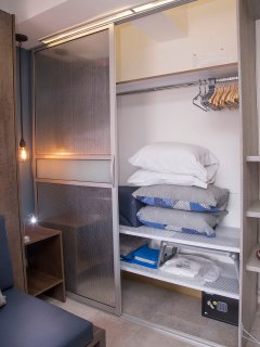 Lot of space on you closet for your stuff with extra pillows, blankets, bedsheets, hangers