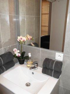 La salle de bains. Serviettes, tapis de bain, savon liquide, sèche-cheveux.