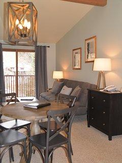 Living & Dining Area with Euro sleeper sofa