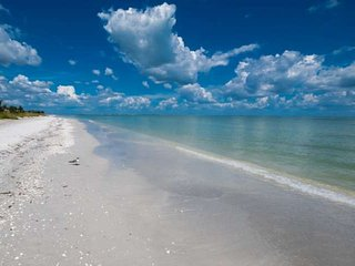 Beautiful Sanibel Beach - only short walk across the street or shorter bike ride, Sanibel is great for biking and rentals are easily available!