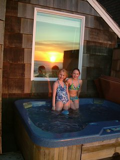 Hot tub at sunset.  Delightful!