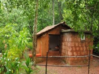 Mud hut for adventurous travellers surrounded by greenery