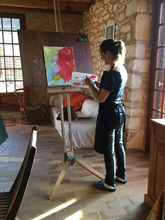 Artist working in the studio on a short creative retreat.