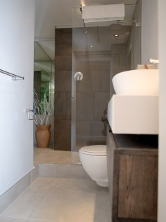The new bathroom is sleek and contemporary