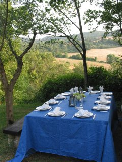 lunch table with views of fields