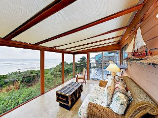 Panoramic Water Views at Oceanfront House w/ Fireplace, Sunroom & Deck