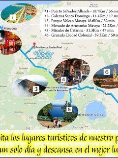 Convenientemente ubicada cerca de lugares turisticos y de comercio en Managua.