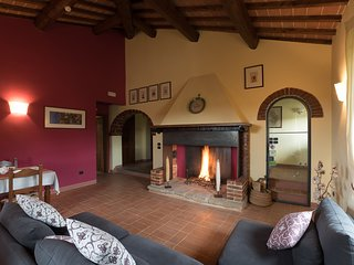 the Living room with open fireplace