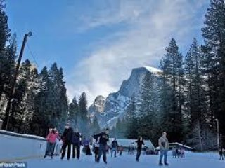Winter fun in Yosemite - Ice skating in Curry Village