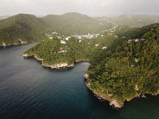 Looking towards Marigot Bay, the Hummingbird Hangout is on the right of the photo closest to the sea