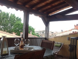 Carcassonne Cite Townhouse with oak roof terrace.